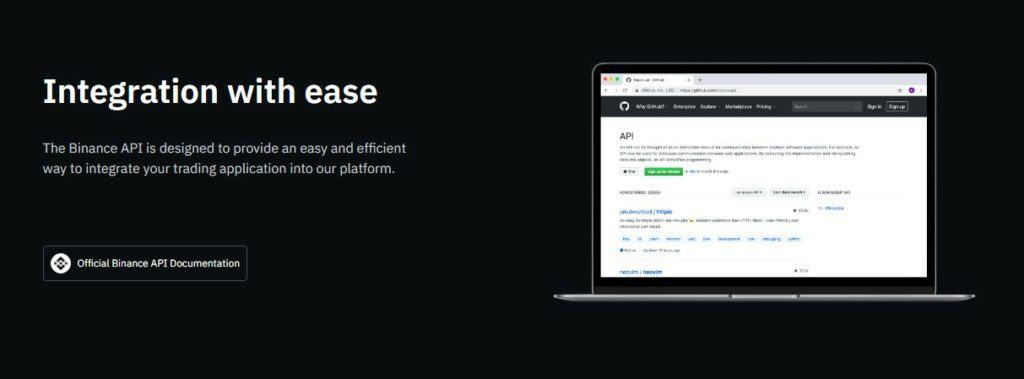 Binance API page