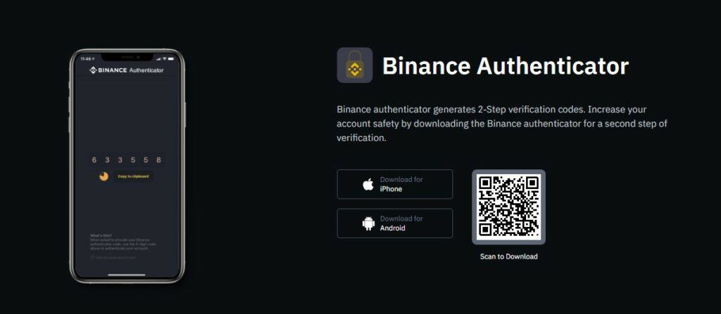 Binance 2-step authenticator