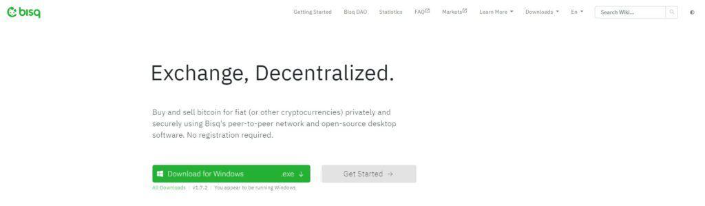 Bisq exchange homepage