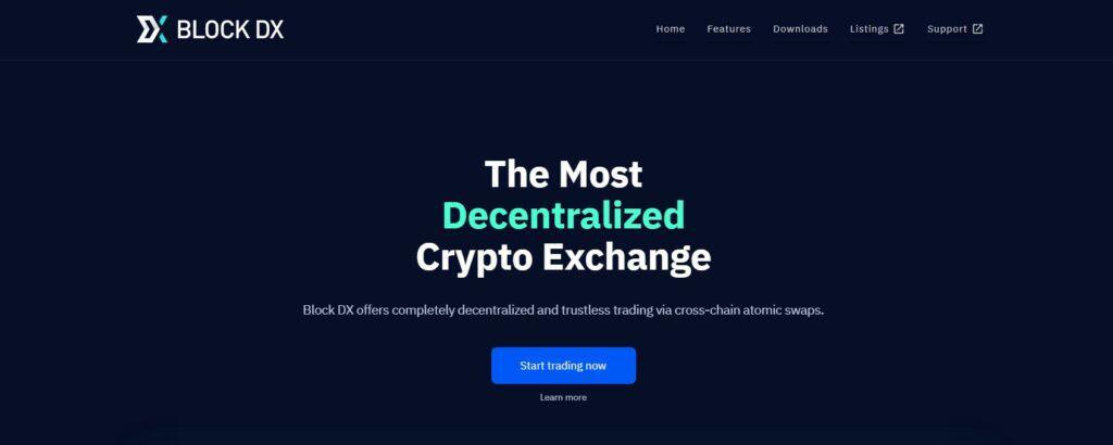 BlockDX exchange homepage