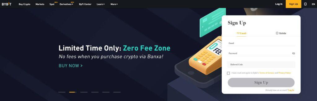 Bybit exchange homepage