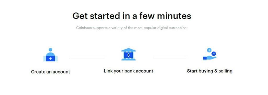Coinbase create an account apge