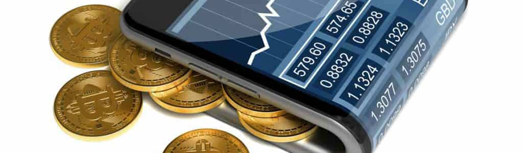 Folded smartphone resembling wallet with overflowing bitcoins