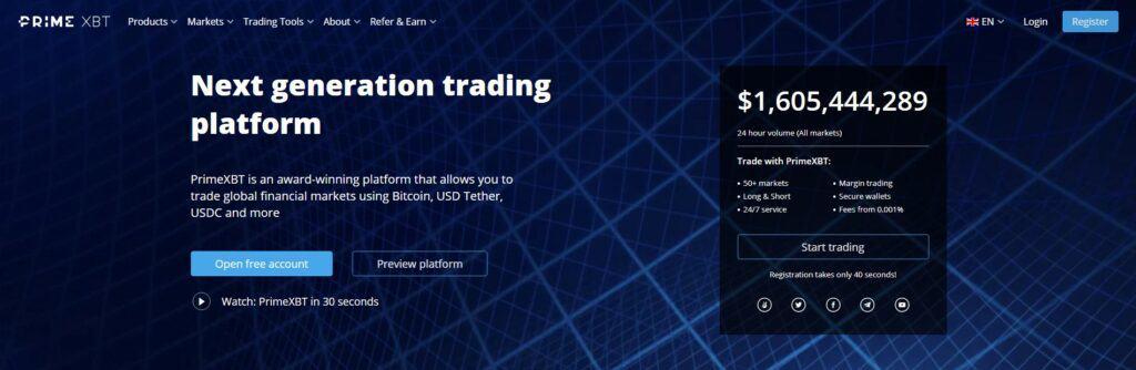 PrimeXBT homepage