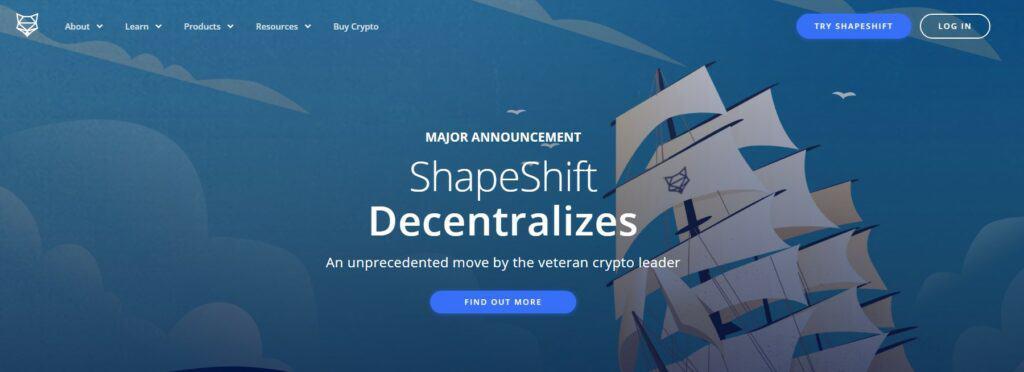 Shapeshift homepage