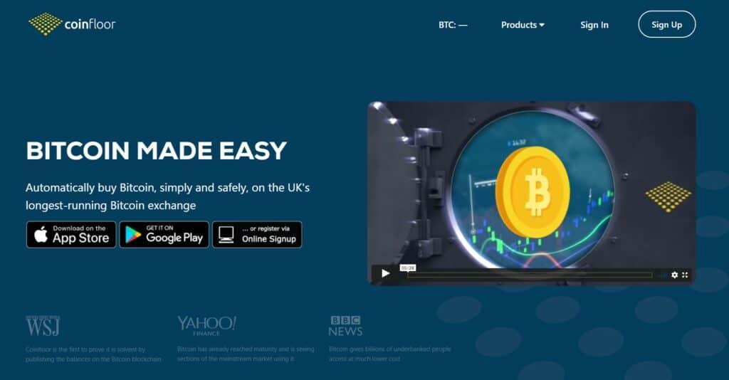 Coinfloor exchange homepage