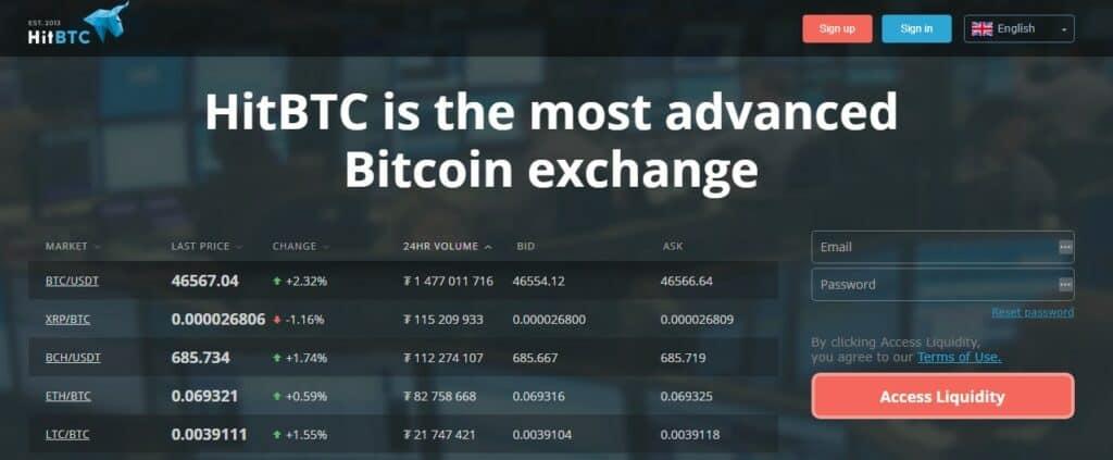 HitBTC homepage