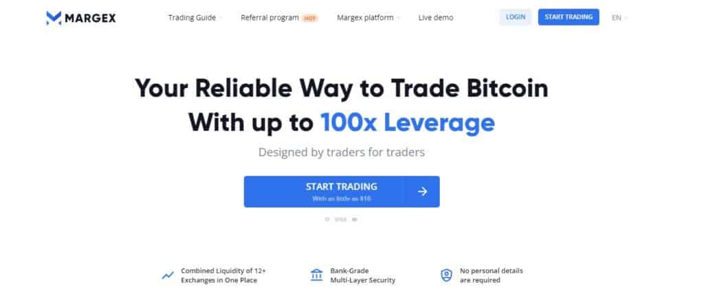 Margex exchange homepage
