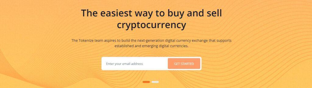 Tokenize exchange homepage