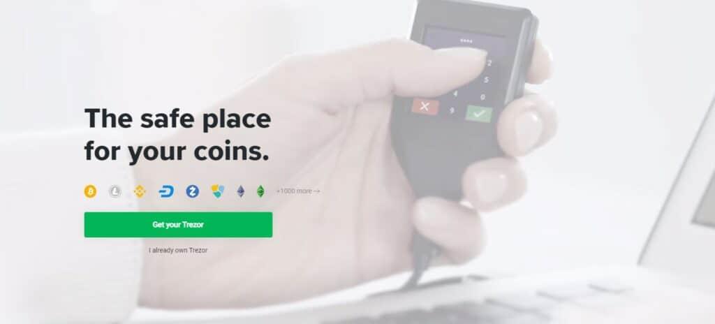 Trezor wallet homepage