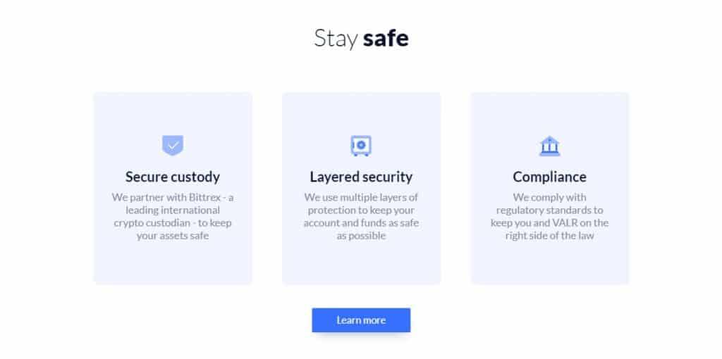 Valr exchange security features