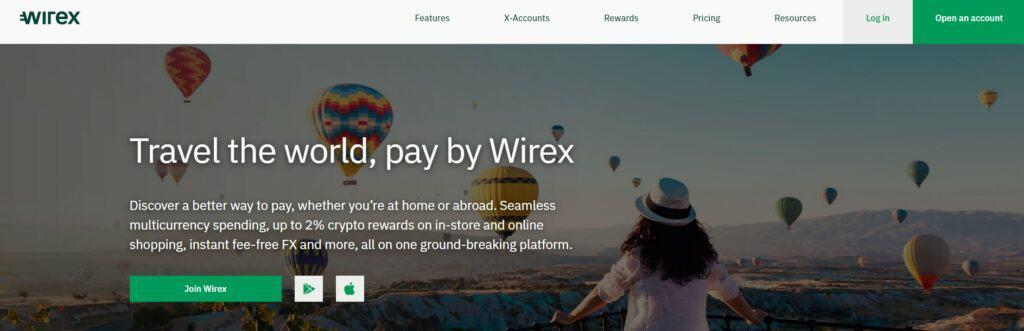 Wirex homepage