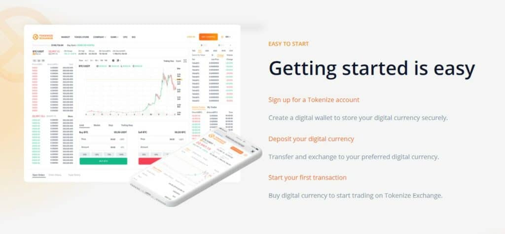 Tokenize Exchange get started page