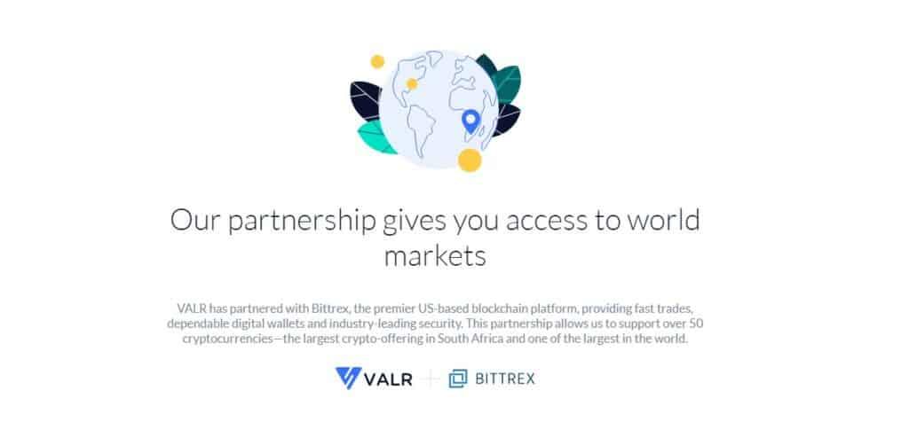 Valr partnership with Bittrex exchange
