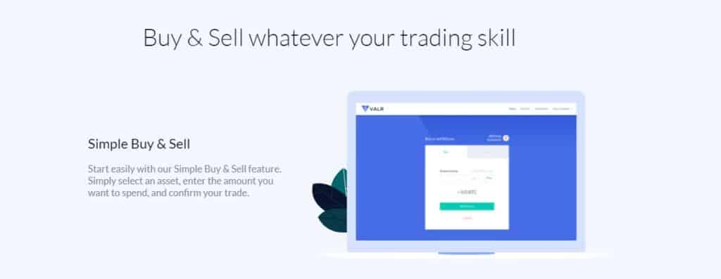 Valr simple buy and sell