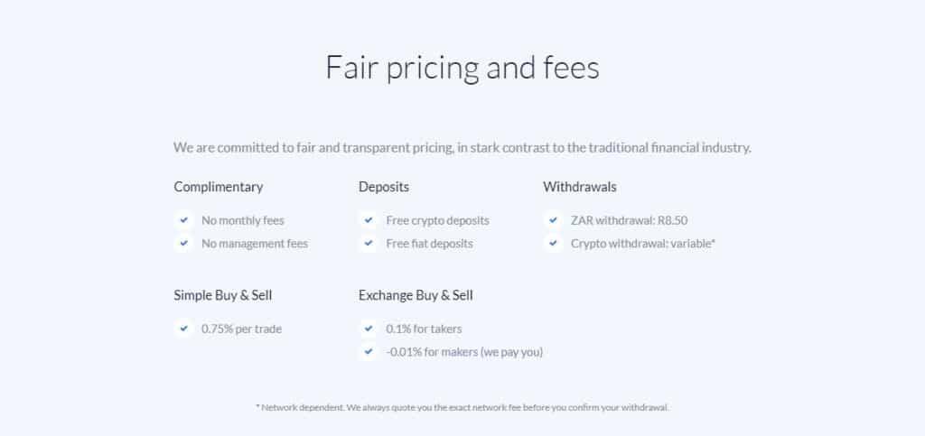 Valr exchange fees